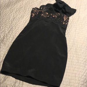 Marchesa lace one shoulder bow dress